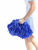 stock photo of pon  - A young cheerleading girl violet colored pom - JPG