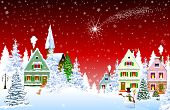 Houses, Village, Church, Forest, Trees. Christmas Star Over The Village. Winter Rural Landscape. Chr poster