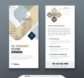 Dl Flyer Design. Biege Template Dl Flyer Banner. Layout With Modern Square Photo And Abstract Backgr poster