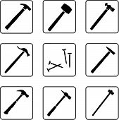 foto of peen  - tools black and white silhouettes in a nine square grid - JPG