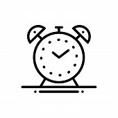 Black Line Icon For Alarm-clock Alarm Clock Watch  Waking-up poster