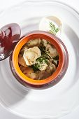 Traditional Russian dumplings in a clay ceramic pot with finely chopped dill and sour cream isolated poster