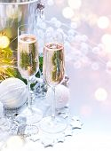 Christmas and New Year celebration with champagne. Holiday dinner table setting with Christmas tree  poster