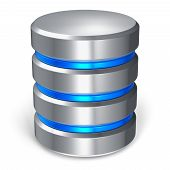 stock photo of cylinder  - Hard disk and database icon isolated on white background - JPG