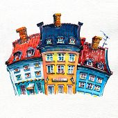 Watercolor Sketch Of Colorful Facades Of Old Houses On Nyhavn Harbour In The Old Town Of Copenhagen, poster