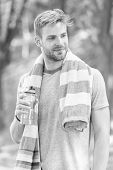 Obey Your Thirst. Thirsty Sportsman. Bearded Man Holding Bottle Of Drinking Water To Quench His Thir poster