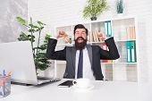 Enjoying Success. Happy Manger Celebrate Success In Office. Bearded Man Being Excited About Success. poster