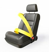 picture of seatbelt  - car chair isolated on a white background - JPG