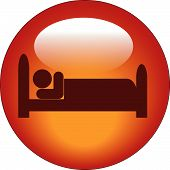 image of goodnight  - red icon of person lying down in bed - JPG