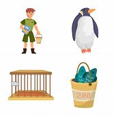 Vector Design Of Zoo And Park Symbol. Collection Of Zoo And Animal Stock Vector Illustration. poster