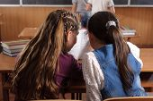 stock photo of chatterbox  - Two schoolgirls chating in classromm during lesson - JPG