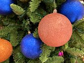 Beautiful Christmas Tree. New Year Concept. Lovely Decorated Fur Branches  With Colorful Balls. Chri poster