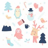 Xmas Holiday Cute Elements Set. Childish Winter Print For Cards, Stickers, Apparel. All Elements Of  poster