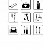 stock photo of medical equipment  - Medical equipment and tools black and white silhouettes in a nine squares grid - JPG