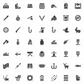 Fishing And Hunting Vector Icons Set, Modern Solid Symbol Collection, Filled Style Pictogram Pack. S poster