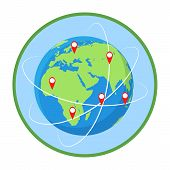 Worldwide Routes Flat Vector Illustration. Intercontinental Transportation. Earth Planet In Green Ci poster