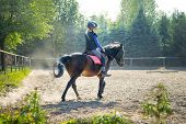 A Young Girl Riding Her Pony During Riding Lesson, Outside. Natural Sun Rays Shining In Dust During  poster