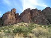 stock photo of superstition mountains  - This is the Superstition Mountains on the steep Treasure Trail in Lost Dutchman State Park near Apache Junction - JPG