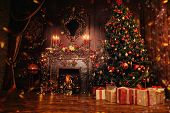 Beautiful Christmas interior with Christmas tree and fireplace. Holiday decoration. poster