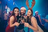 Cheers. Photo Of Party Chill Crowd Best Friends Holding Alcohol Sparkling Wine Glasses Newyear Festi poster