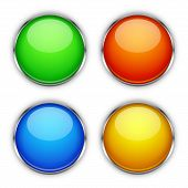 Set Of Vector Glossy Buttons. Glass Buttons Isolated. Colored Bright Buttons poster