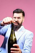 Celebration, Drink, Alcohol And Holidays Concept. Bartender Opening Wine Bottle. Selective Focus. Be poster