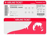 Airline Ticket Or Boarding Pass For Traveling By Plane Isolated On White.plane Ticket Template. Air  poster