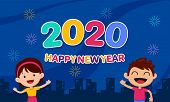 Happy New Year 2020 Cartoon For Kids Celebration Poster Design. Couple Of Children Character At City poster