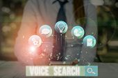 Conceptual Hand Writing Showing Voice Search. Business Photo Showcasing Allows The User To Use A Voi poster