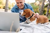Photo of smiling young man lying on blanket in park with his canine dog and laptop computer poster