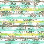 Jungle New Zealand Fern Frond And Bracken Grass Overlaying Stripes Vector Seamless Pattern. Brazilia poster