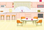 Bright Banner Interior Spacious Modern Kitchen. Large Room With Kitchen Furniture. Opposite Window T poster