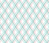 Geometric Background, Seamless, Thin Blue Line, Diamonds, Vector.  Turquoise And Pink Thin Lines Cro poster