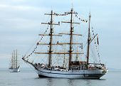 stock photo of sloop  - Tall Ships in New York Harbor during NYC Fleet Week - JPG