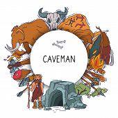 Ancient Man Set, Stone Age Cartoon Caveman Vector Illustration. Historic Primitive Dweller, Ancientl poster