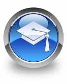 stock photo of toga  - Graduate cap icon on glossy blue round button - JPG
