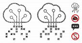 Digital Cloud Mosaic Of Joggly Parts In Different Sizes And Color Tones, Based On Digital Cloud Icon poster