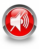 stock photo of beep  - Mute icon on glossy red round button - JPG