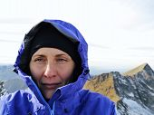 Woman Hiker Portrait On The Peak  -  High Mountains Peaks - Hiking In The Snow poster