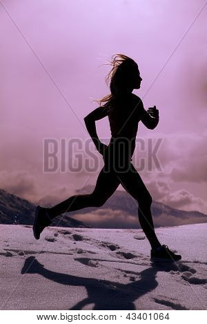 Silhouette Woman Run In Snow