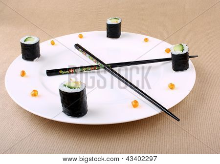 Concept Of Sushi Time With Caviar As Clock