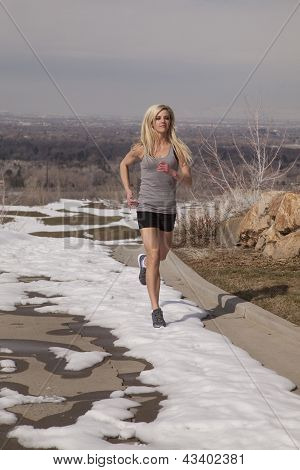 Woman Gray Run In Snow