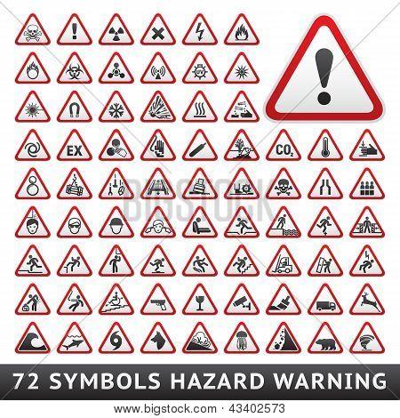 Triangular Warning Hazard Symbols. Big red set