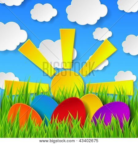 Abstract Easter eggs made of paper on colorful spring background with green grass, sun, sky and clouds. Raster copy of vector illustration
