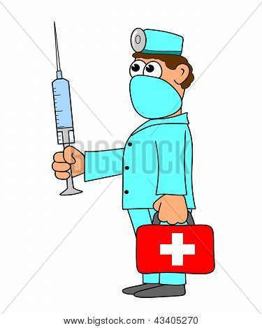 Doctor With Red Bag And Injection