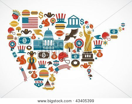 America map with many vector icons