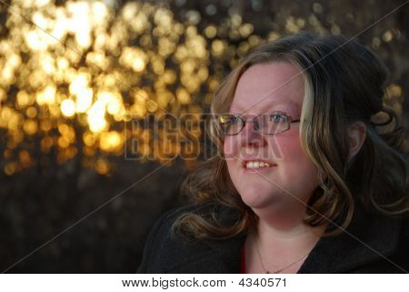 Natural Woman On Autumn Day