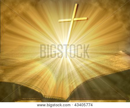 Cross On Open Lighted Bible