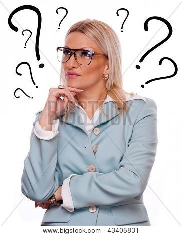 Business woman thinking - question marks around head