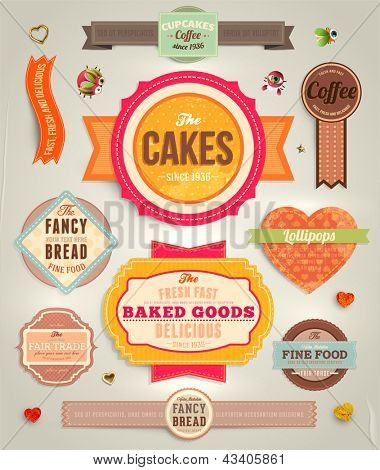 Set of retro bakery labels, ribbons and cards for vintage design, old paper textures and seamless ornaments